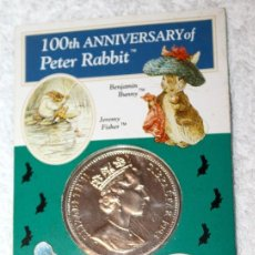 Monedas antiguas de Europa: GIBRALTAR 1 CORONA 1993 EMISIÓN CONMEMORATIVA DEL 100 ANIVERSARIO DE PETER RABBIT MONEDA. Lote 82797324