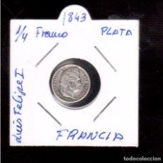 Monedas antiguas de Europa: MONEDA DE EUROPA-----FRANCIA 1/4 LUIS FELIPE I 1843 PLATA LA QUE VES . Lote 83275276