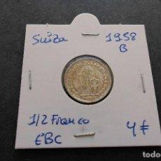 Monedas antiguas de Europa: SUIZA 1/2 FRANCO 1958 PLATA. Lote 85432056