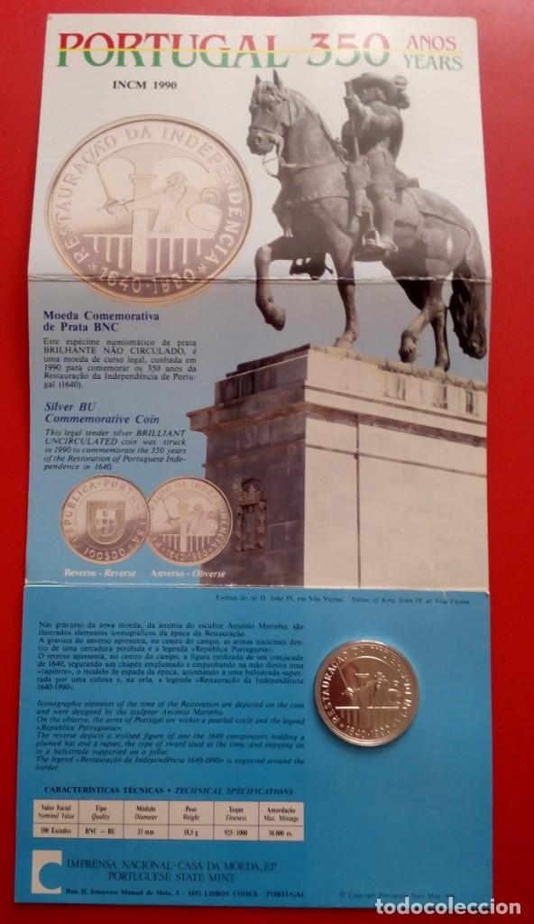 Monedas antiguas de Europa: MONEDA PLATA CONMEMORATIVA A LA RESTAURACION DE INDEPENDENCIA DE PORTUGAL 1640-1990 EDICION LIMITADA - Foto 2 - 86982560
