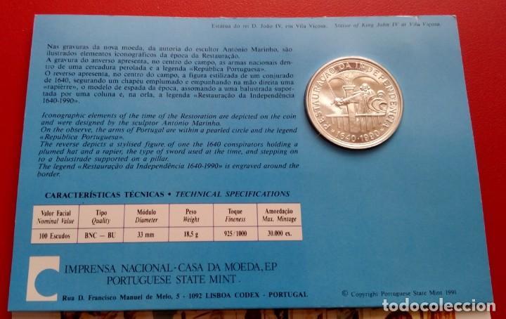 Monedas antiguas de Europa: MONEDA PLATA CONMEMORATIVA A LA RESTAURACION DE INDEPENDENCIA DE PORTUGAL 1640-1990 EDICION LIMITADA - Foto 3 - 86982560