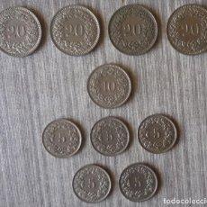 Monedas antiguas de Europa: LOTE DE 10 MONEDAS DE SUIZA. Lote 87128780