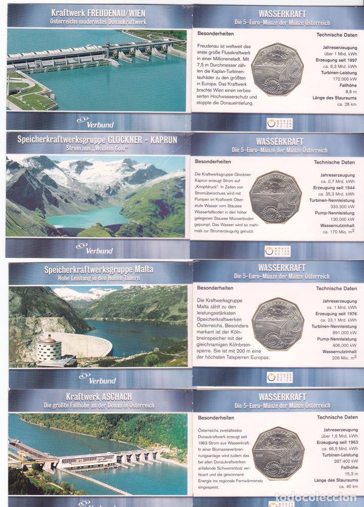4 X 5 EUROS AUSTRIA 2003 EN CARTERA MINIBLISTER, WASSERKRAFT, CICLO DEL AGUA (Numismática - Extranjeras - Europa)