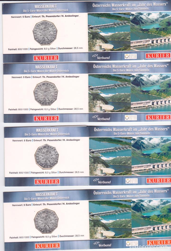 Monedas antiguas de Europa: 4 x 5 Euros Austria 2003 en cartera miniblister, Wasserkraft, Ciclo del agua - Foto 2 - 88849936