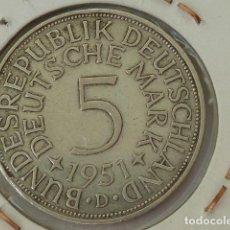 Monedas antiguas de Europa: MONEDA DE PLATA DE 5 MARCOS DE ALEMANIA DE 1951, CECA D. Lote 93616725