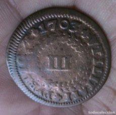 Monedas antiguas de Europa: 605 - 1683~1706 - PEDRO II -EL PACÍFICO-MONEDA PORTUGAL III REIS COBRE. AÑO 1703. CONSERVACION MBC. Lote 95332351