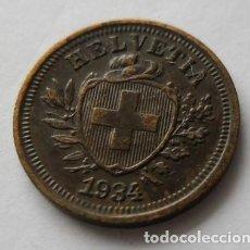 Monedas antiguas de Europa: 145 - MONEDA DE SUIZA-SWITZERLAND 1 RAPPEN DE COBRE AÑO 1934 B. CONSERVACION MBC+. Lote 95451555