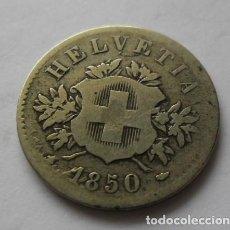 Monedas antiguas de Europa: 98 - MONEDA DE SUIZA-SWITZERLAND 20 RAPPEN DE NICKEL AÑO 1850 . CONSERVACION MBC. Lote 95458039