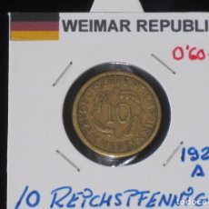 Monedas antiguas de Europa: ALEMANIA (WEIMAR REPUBLIC): 10 REICHSPFENNIG 1924A - REF.-810. Lote 95823195