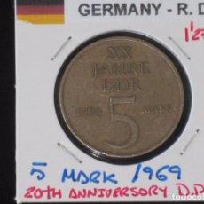 Monedas antiguas de Europa: ALEMANIA (R. DEMOCRATICA): 5 MARK 1969 - REF.-815. Lote 95823395