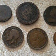 Monedas antiguas de Europa: LOTE DE 7 MONEDAS DE DISTINTOS REYES Y REINAS GRAN BRETAÑA. Lote 95825295