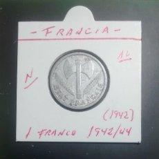 Monedas antiguas de Europa: FRANCIA 1 FRANCO 1942 (ALUMINIO SIN LETRA) KM 902.1. Lote 96252399
