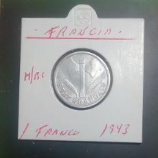 Monedas antiguas de Europa: FRANCIA 1 FRANCO 1943 (ALUMINIO SIN LETRA) MBC KM 902.1. Lote 96252539