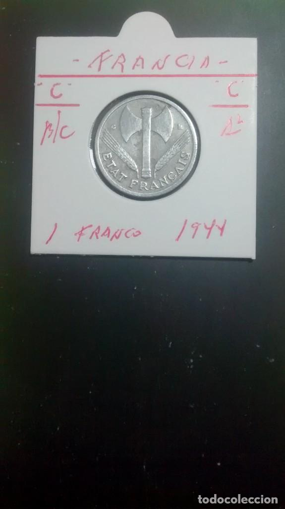 FRANCIA 1 FRANCO 1943 (ALUMINIO LETRA C) BC KM 902.3 (Numismática - Extranjeras - Europa)