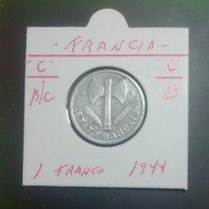 Monedas antiguas de Europa: FRANCIA 1 FRANCO 1943 (ALUMINIO LETRA C) BC KM 902.3. Lote 96252987