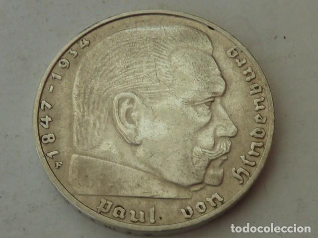 MONEDA DE PLATA 2 MARCOS 1937 CECA F, ALEMANIA NAZI, MARISCAL PAUL VON HINDENBURG, ESCASA (Numismática - Extranjeras - Europa)