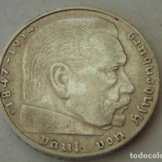 Monedas antiguas de Europa: MONEDA DE PLATA 2 MARCOS 1937 CECA F, ALEMANIA NAZI, MARISCAL PAUL VON HINDENBURG, ESCASA. Lote 97419323