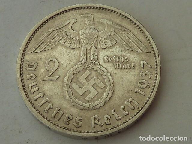 Monedas antiguas de Europa: MONEDA DE PLATA 2 MARCOS 1937 CECA F, ALEMANIA NAZI, MARISCAL PAUL VON HINDENBURG, escasa - Foto 2 - 97419323