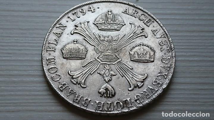 Monedas antiguas de Europa: ESPECTACULAR KRONENTHALER AUSTRIA FRANCISCO II THALER 1794 M -MILAN PLATA - Foto 2 - 97515683