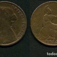 Monedas antiguas de Europa: GRAN BRETAÑA 1/2 PENNY AÑO 1877 (VICTORIA REINA DE GRAN BRETAÑA Y DE SUS DOMINIOS DE 1837 A 1901)Nº2. Lote 97889999