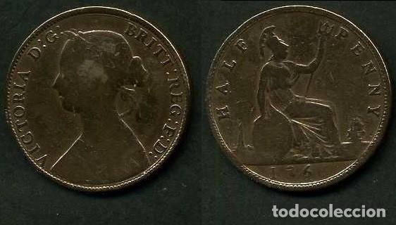 GRAN BRETAÑA 1/2 PENNY AÑO 1861 (VICTORIA REINA DE GRAN BRETAÑA Y DE SUS DOMINIOS DE 1837 A 1901)Nº1 (Numismática - Extranjeras - Europa)