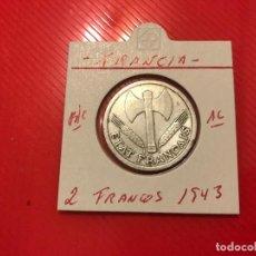 Monedas antiguas de Europa: FRANCIA 2 FRANCOS 1943 ( SIN LETRA ) BC KM 904.1. Lote 98231643