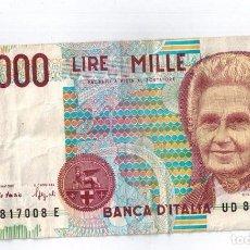 Monedas antiguas de Europa: BILLETE 1000 LIRAS ITALIA. Lote 98658627
