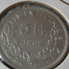 Monedas antiguas de Europa: SUIZA MONEDA CONMEMORATIVA 5 FRANCOS 1982. Lote 98874443