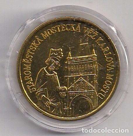 Monedas antiguas de Europa: Medalla de bronce República Checa - Praga - Puente de Carlos - Torre del puente de la Ciudad Vieja - Foto 2 - 99241963