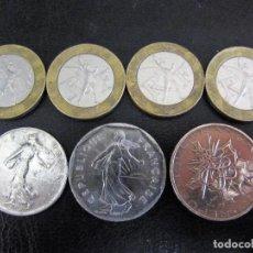 Monedas antiguas de Europa: LOTE 7 MONEDAS FANCOS FRANCESES CIRCULADAS 1, 2, 10 FRANCOS 1973 - 84- 88- 89- 97. Lote 101063183