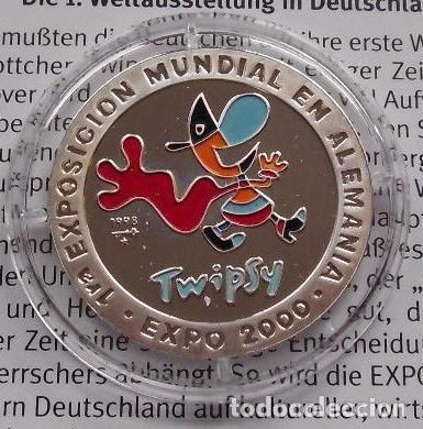 BONITA MONEDA DE PLATA PURA DE LA PRIMERA EXPO EN ALEMANIA EXPO 2000 HANNOVER CON LA MASCOTA TWIPSY (Numismática - Extranjeras - Europa)
