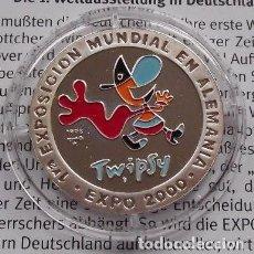 Monedas antiguas de Europa: BONITA MONEDA DE PLATA PURA DE LA PRIMERA EXPO EN ALEMANIA EXPO 2000 HANNOVER CON LA MASCOTA TWIPSY. Lote 101671839