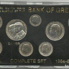 Monedas antiguas de Europa: CON 9 MONEDASGRECIA - CARTERA OFICIAL DEL BANCO DE GRECIA 1964-66-68 (1 MONEDA DE PLATA) RARO SC . Lote 103867363