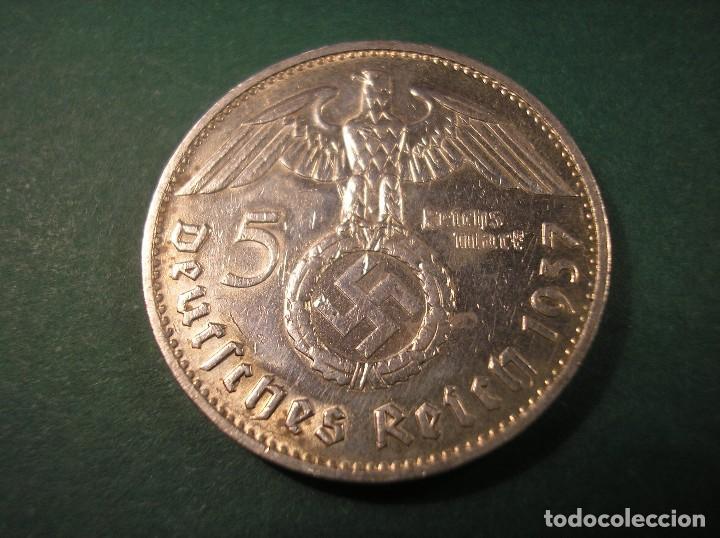 Monedas antiguas de Europa: 5 Reichsmark 1937 F Hindenburg plata / Tercer Reich 5 marcos - Foto 2 - 106030139