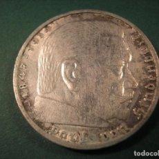 Monedas antiguas de Europa: 5 REICHSMARK 1938 A HINDENBURG PLATA. Lote 106030175