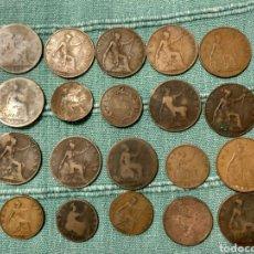 Monedas antiguas de Europa: LOTE DE 27 MONEDAS DIVERSAS INGLATERRA. Lote 108909779