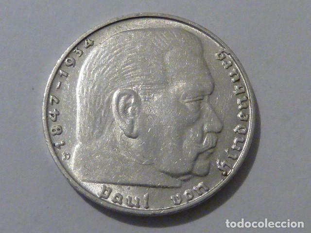 MONEDA D PLATA 2 MARCOS 1937 CECA D, ALEMANIA NAZI, MARISCAL PAUL VON HINDENBURG, ESCASA (Numismática - Extranjeras - Europa)