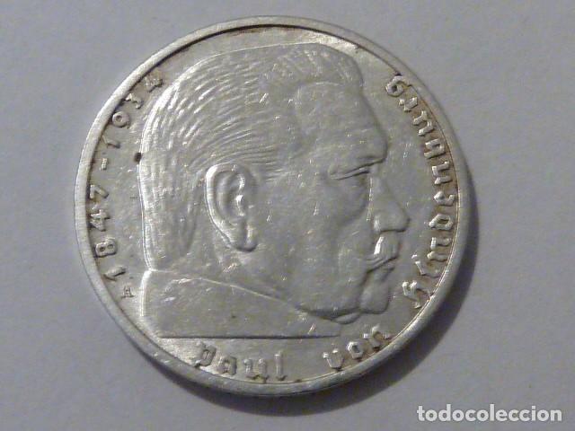 MONEDA D PLATA 2 MARCOS 1939 CECA A, ALEMANIA NAZI, MARISCAL PAUL VON HINDENBURG (Numismática - Extranjeras - Europa)