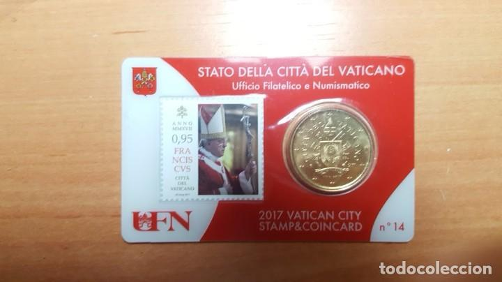 VATICANO 2017 SELLO + COIN CARD EURO - Nº 14 (Numismática - Extranjeras - Europa)