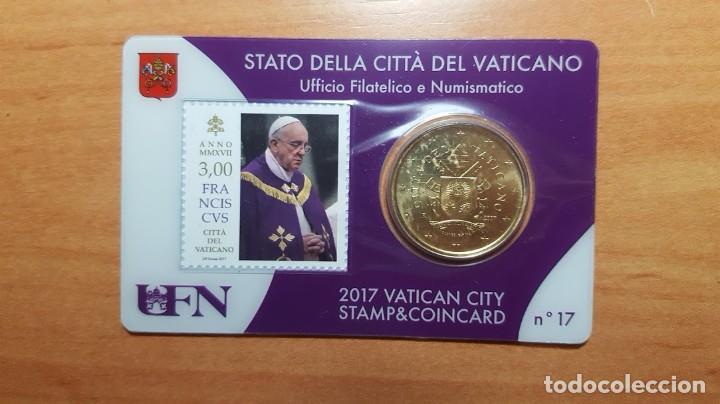 VATICANO 2017 SELLO + COIN CARD EURO - Nº 17 (Numismática - Extranjeras - Europa)