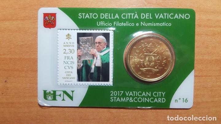 VATICANO 2017 SELLO + COIN CARD EURO - Nº 16 (Numismática - Extranjeras - Europa)