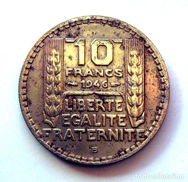 Monedas antiguas de Europa: MONEDAS DEL MUNDO . FRANCIA . 10 FRANCS 1946-B . CABEZA GRANDE - Foto 2 - 110896863