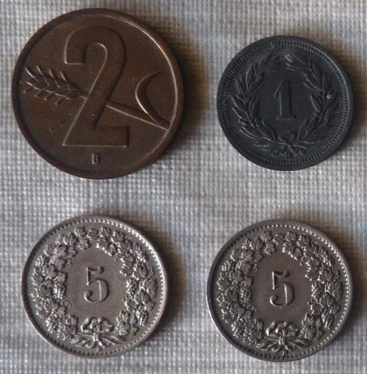 LOTE DE 4 MONEDAS DE SUIZA (Numismática - Extranjeras - Europa)