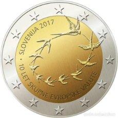 Monedas antiguas de Europa: ESLOVENIA 2 EURO 2017 PAJARITOS 10º ANIVERARIO ENTRADA AL EURO. Lote 194279481