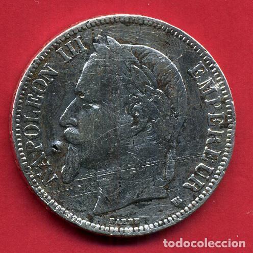 MONEDA PLATA , FRANCIA , 5 FRANCOS 1869 , MBC- , ORIGINAL , B10 (Numismática - Extranjeras - Europa)