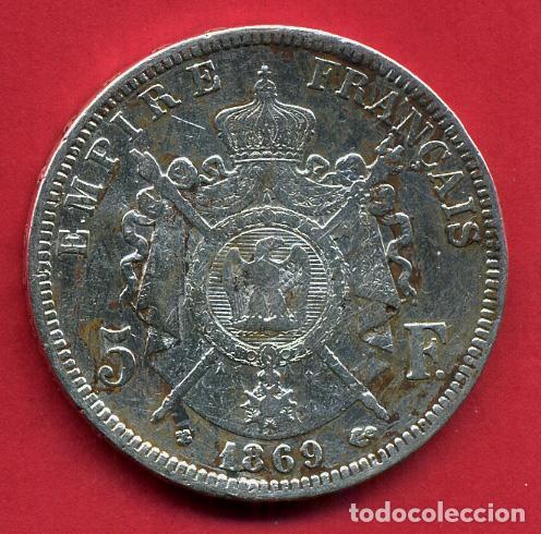 Monedas antiguas de Europa: MONEDA PLATA , FRANCIA , 5 FRANCOS 1869 , MBC- , ORIGINAL , B10 - Foto 2 - 112342371