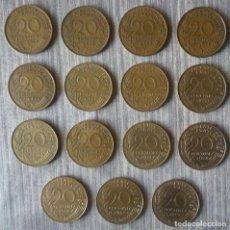 Monedas antiguas de Europa: LOTE DE 15 MONEDAS DE 20 CENTIMOS FRANCESES. AÑOS DIFERENTES. Lote 112686075