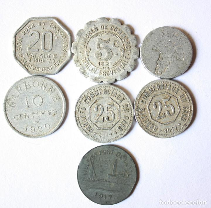 LOTE DE 7 FICHAS PRIMERA GUERRA MUNDIAL Y ENTRE GUERRAS FRANCIA. ALGUNA RARA. (Numismática - Extranjeras - Europa)