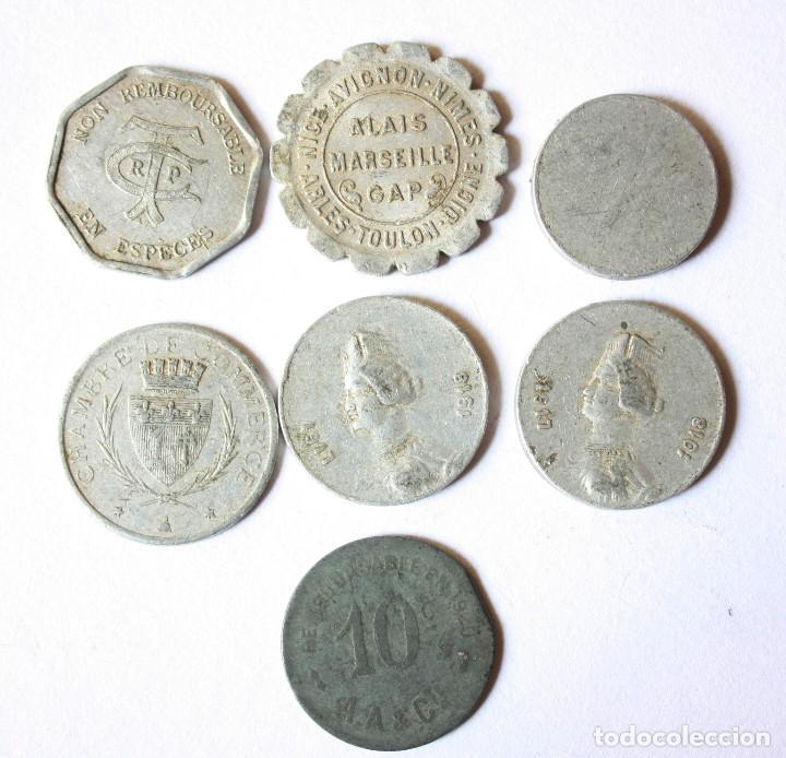 Monedas antiguas de Europa: Lote de 7 fichas primera guerra mundial y entre guerras francia. Alguna rara. - Foto 2 - 112960011