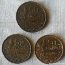 Monedas antiguas de Europa: TRES MONEDAS DE 50 FRANCOS FRANCESES. Lote 113146743